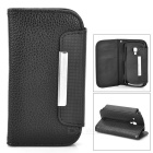 Protective PU Leather Case for Samsung Galaxy S3 Mini i8190 - Black + Dark Brown