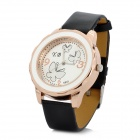 Y.B 803 PU Leather Band Analog Quartz Wrist Watch for Women - Black