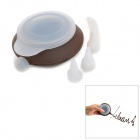 Kettle Shape Silicone Pen w/ Flower Mouth + Mouth Cover for Cake / Bread Decoration - Coffee + White