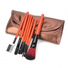 MEGAGA 315-11# Professional 7-in-1 Cosmetic Makeup Brush Set w/ PU Case - Deep Brown