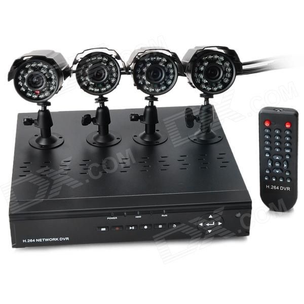 KIT-P104 4-CH D1 Real-Time Network CCTV DVR Security System w/ 4 x IR Cameras - Black (PAL)