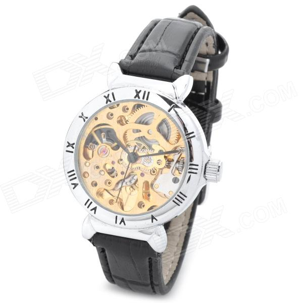 CJIABA LA2015 Skeleton Design Leather Band Analog Auto Mechanical Wrist Watch for Women - Black cjiaba gk8001 w pu leather band analog skeleton mechanical wrist watch for men black white