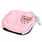e-Warmer F2201-1 Cute Pig Pattern USB Powered Hand Warmer Mouse Pad - Pink + Black + White