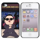 Gangnam Style PSY Pattern Protective Plastic Back Case for iPhone 4 / 4S - Black
