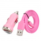 Car Charger + USB 8-Pin Lightning Data / Charging Flachbandkabel für iPhone 5 / iPad Mini / 4 - Pink