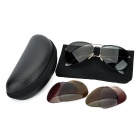 Monel Alloy Frame Polarized Lens Sunglasses w/ Replacement Lens - Black + Red