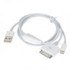 USB Male to 8-Pin Lightning + Apple 30-Pin Connector Male Data Cable for iPhone 5 / 4S / 4 - White