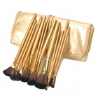 MEGAGA Professional 15-in-1 Nylon Fiber Cosmetic Brushes Set - Golden