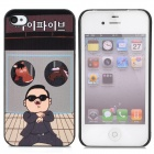 Gangnam Style PSY + Horse Pattern Protective Plastic Back Case for iPhone 4 / 4S - Black