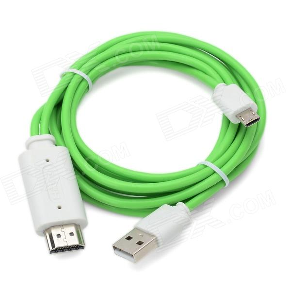 MHL Micro USB 11 Pin to HDMI Cable Adapter for Samsung i9300 - Green + White (200cm / 45cm) usb to rs485 adapter black green