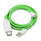 MHL Micro USB 11 Pin to HDMI Cable Adapter for Samsung i9300 - Green + White (200cm / 45cm)