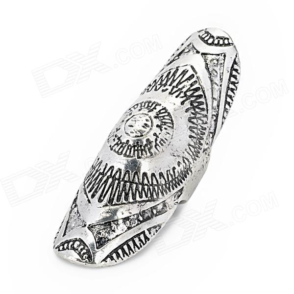 Punk Style Unique Flower Pattern Zinc Alloy Plating Ring - Silver creative zipper pattern zinc alloy ring golden silver