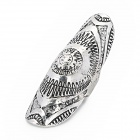 Punk Style Unique Flower Pattern Zinc Alloy Plating Ring - Silver