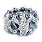 Lantern Shape Copper Alloy + Rhinestone Bracelet for Woman - Silver + Grey Black