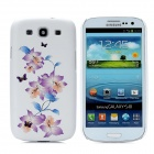 Protective Flowers Butterflies Embossed PC Back Case for Samsung Galaxy S3/i9300 - White