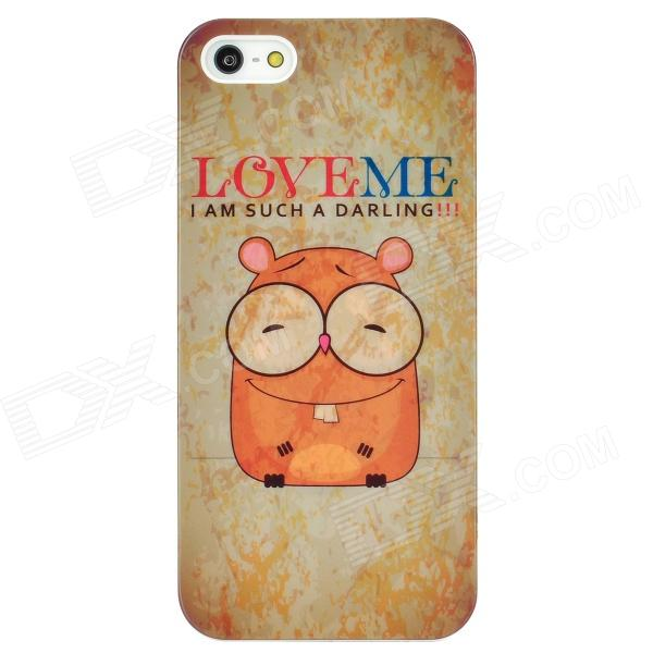Cartoon Hamster Style Protective Plastic Back Case for Iphone 5 - Beige cartoon girl parachuting protective plastic back case for iphone 5