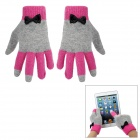 Fashion Rabbit Hair + Acrylic Fibers Gloves for Women - Deep Pink + Grey (Pair)