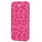 Leopard Style Protective PU Leather Case for Iphone 5 - Deep Pink