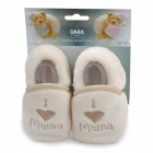 Mama Heart Pattern Baby Anti-Skid Shoes - White + Light brown