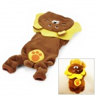 F146-3 Cute Lion Style 4-Leg Holes Coral Fleece Dog Cat Pet Clothes - Brown (Size: M)