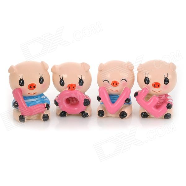 Mini Love Pig Decoration Set for Car Home Desk - Pink + Blue