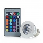E27 180lm 3W 265V RGB Light LED Spotlight w/ Remote Control - Silver (85~265V)