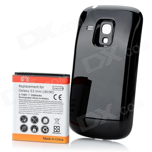 Replacement 3500mAh Battery + Protective Back Cover for Samsung Galaxy S3 Mini - Black cm001 3d skeleton pattern protective plastic back case for samsung galaxy s4