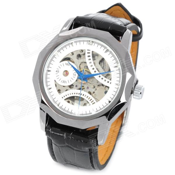 CJIABA GK8001-SW PU Leather Band Skeleton Self-winding Mechanical Wrist Watch for Men - Black