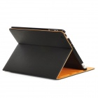 Cool Denim Grain Protective PU Leather Case w/ Smart Cover for iPad 2 / The New iPad - Black
