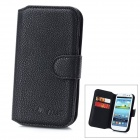 Protective PU Leather Lichee Grain Flip Open Case for Samsung i9300 - Black
