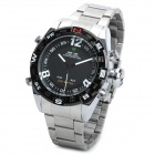 WEIDE WH2310-1 Stainless Steel Band Analog + Digital LED Quartz Wrist Watch for Men - Black + Silver
