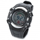 D005 Sports Rubber Band Digital Wrist Watch w/ Alarm Clock for Men - Black