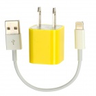 AC Powered Charger + USB 8-Pin Lightning Cable for iPhone 5 / iPod Nano 7 - Yellow + White (US Plug)