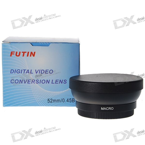 Futin 52mm Wide-Angle/0.45X Aluminum Macro Lens Attachment for Digital Cameras
