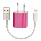 AC Powered Charger + USB 8-Pin Lightning Cable for iPhone 5 / iPod Nano 7 - Purple + White (US Plug)