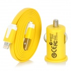 Auto Zigarette Powered Charger + USB 8-Pin Lightning Flat-Kabel für iPhone 5 / iPod Nano 7 - Yellow