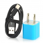 AC Power Adapter Charger + USB 8-Pin Lightning Cable for iPhone 5 - Black + Blue (US Plug)