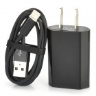 AC Charger + USB 8-Pin Lightning Cable for iPhone 5 / iPod Nano 7 / Touch 5 - Black (US Plug)