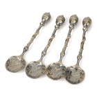 Retro Zinc Alloy Engraving Coffee Spoons - Antique Brass (4 PCS)