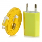 AC Powered Charger + USB 8-Pin Lightning Flat Cable for iPhone 5 / iPod Nano 7 - Yellow (EU Plug)