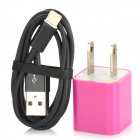 AC Power Adapter Charger + USB 8-Pin Lightning Cable for iPhone 5 - Black + Purple (US Plug)