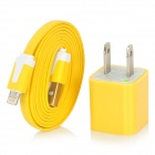 AC Powered Charger + USB 8-Pin Lightning Flat Cable for iPhone 5 / iPod Nano 7 - Yellow (US Plug)