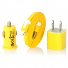 AC Power Adapter + Car Charger + USB 8-Pin Lightning Flat Cable for iPhone 5 / iPod Touch 5 - Yellow