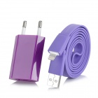 USB Power Charger Adapter w/ Lightning 8-Pin Male Flat Cable for iPhone 5 - Purple (EU Plug)