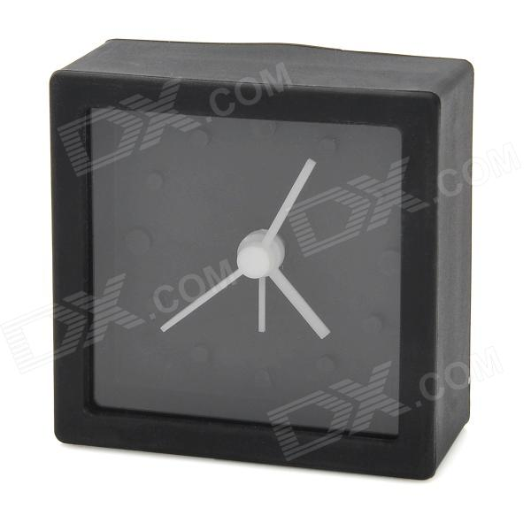 Mini Square Shape Silicone Desktop Clock Alarm - Black (1 x AG13)