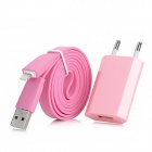 USB Power Charger Adapter w/ 8-Pin Lightning Male Flat Cable for iPhone 5 - Pink (EU Plug)