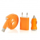 Lightning 8Pin Data Cable + EU Plug + Car Cigarette Lighter Charger for iPhone 5 / iPad 4 - Orange