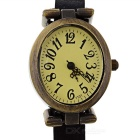Buy Retro Cow Leather Band Analog Quartz Wrist Watch Women - Black + Bronze
