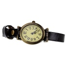 Retro Cow Leather Band Analog Quartz Wrist Watch for Women - Black + Bronze