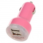Mini Dual USB Car Cigarette Lighter Adapter/Charger for Mini Ipad - Pink (DC 12~24V)
